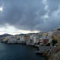 Heavy Clouds near the cliffs and coastline in Ermoupoli, Greece