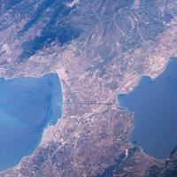 Isthmus of Corinth from space in Greece