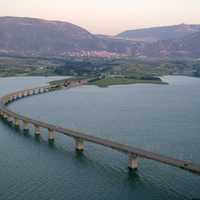 Lake Polyfytos Bridge crossing the lake landscape in Kozani, Greece