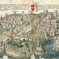 Rhodes city, around 1490 in Greece