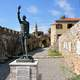 Statue of Miguel de Cervantes at the port in Nafpaktos, Greece