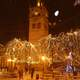 The clock tower during Christmas with Lights in Kozani, Greece