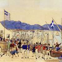 The customs office of the port of Piraeus in 1837 in Greece