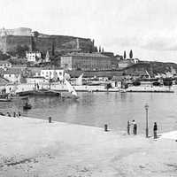 The harbour of Corfu in 1890 in Corfu, Greece
