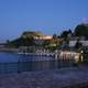 The northern side of the Venetian Old Fortress at night in Corfu, Greece