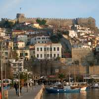 View to the old town with the Byzantine fortress in Kavala, Greece