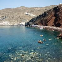 Beach and cliffs at Santorini, Greece
