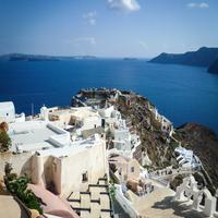 Looking at into the Sea from Oia, Santorini, Greece