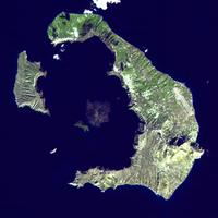 Satellite View of Santorini, Greece