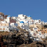 Town on the Hill in Santorini, Greece