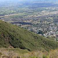 Town from mountain near Pignon, Haiti