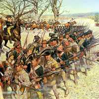 1st Maryland Regiment holding back the British at the Battle of Guilford Courthouse