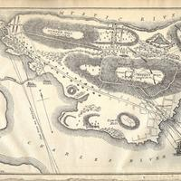 A historic map of Bunker Hill featuring military notes, American Revolution
