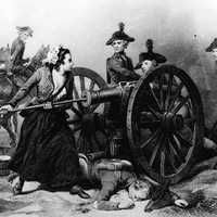 Molly Pitcher taking part in the battle at monmouth during the American Revolution