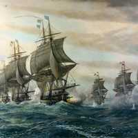 Naval Battle between French and British at Chesapeake Bay. American Revolution