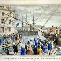 Painting of Boston Tea Party, event leading up to the revolutionary war