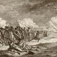 Romanticized 19th-century depiction of Battle of Lexington during the American Revolution