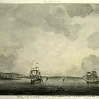 The British fleet in New York Harbor just after the battle During the American Revolution