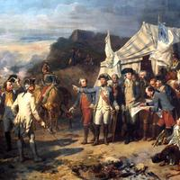 Washington and Rochambeau giving orders before battle of Yorktown, American Revolution