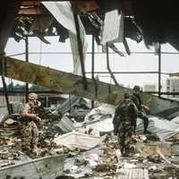 Aftermath of an Iraq Armed Forces strike on US barracks during the Gulf War