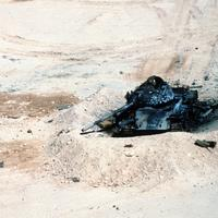An Iraqi T-54A destroyed in the desert in the Gulf War