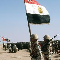 Coalition troops from Egypt, Syria, Oman, France and Kuwait during Operation Desert Storm