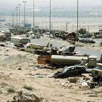 Destroyed Iraqi civilian and military vehicles on the Highway of Death