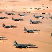 F-15Es parked during Operation Desert Shield in the Gulf War