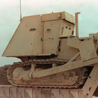 An armored bulldozer similar to the ones used in the attack in the Gulf War