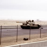 Iraqi Type 69 tank on the road into Kuwait City during the Gulf War