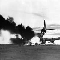 A U.S. Air Force C-54 Skymaster after being shot down in the Korean War