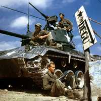 Crew of an M-24 tank along the Nakdong River front, August 1950 during Korean War
