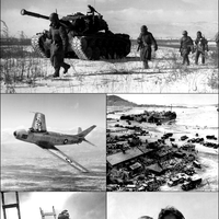 Korean War Collage Black and White