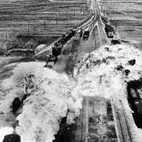 U.S. Air Force attacking railroads south of Wonsan in North Korea