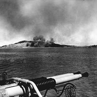 Wolmido under bombardment on 13 September 1950 in Korean War