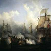 British HMS Sandwich fires to the French flagship Bucentaure at the Battle of Trafalgar