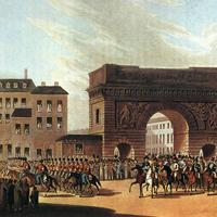 The Russian army enters Paris in 1814 during the Napoleonic wars