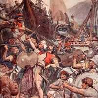 Death of the Persian admiral Ariabignes at the Battle of Salamis
