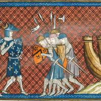 King Philip II of France arriving in the Eastern Mediterranean during the Crusades