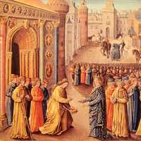 Raymond of Poitiers welcoming Louis VII in Antioch during the Crusades
