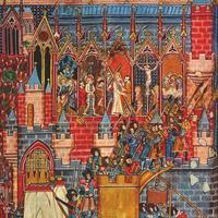 Siege of Jerusalem as depicted in a medieval manuscript during the Crusades