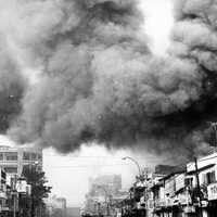 Black smoke covers areas of Sài Gòn during Tet Offensive in the Vietnam War