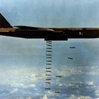 Bomber dropping bombs in Operation Linebacker during the Vietnam War