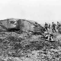 Canadian Troops following a Mark II Tank at the battle of Vimy Ridge 1917