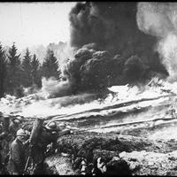 French soldiers making a gas and flame attack on German trenches in World War I