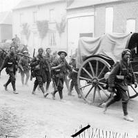 Troops of the 10th Battalion Marching towards the Battle of the Somme in World War I