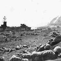 1st Battalion 23rd Marines at Yellow Beach at Iwo Jima, World War II