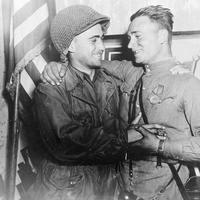 2nd Lt. William Robertson, US Army and Lt. Alexander Sylvashko, Red Army, Meeting of East and West
