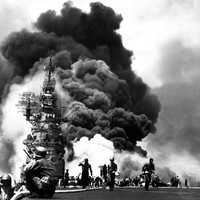 USS Bunker Hill after being hit with Kamikaze Planes at Okinawa, World War II