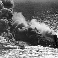 Allied Tanker Dixie Arrow after taking a Torpedo in World War II